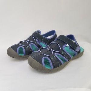 Air Walk Black/Purple Bump Toe Sandals Sz 3